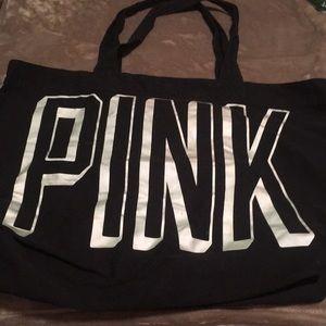 Pink by Victoria's Secret black canvas tote